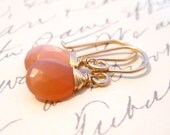 Peach Moonstone Earrings Wire Wrapped 14k Gold Fill Handmade Jewelry, Just Blush, Complimentary Shipping