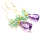 Purple Gemstone Earrings, Moss Amethyst, Green Quartz, Gold Hoop Earrings, 14k Gold, Wire Wrapped, Handmade Jewelry, A Spring Bouquet