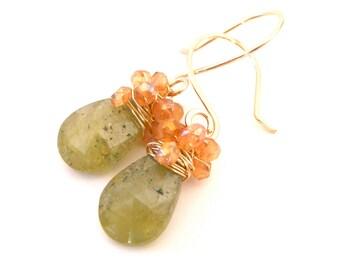 Green Garnet Earrings, Wire Wrapped, Orange Citrine, 14k Gold, Gemstone Teardrop, Handmade Jewelry, Mango Delight