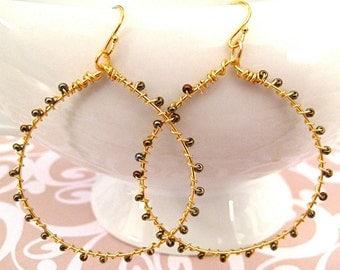 Gold Hoop Earrings, Wire Wrapped, Seed Beads, Chocolate Brown Beads, Handmade Jewelry, Hot Chocolate Hoops
