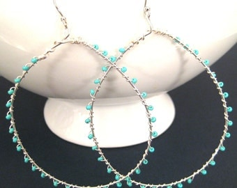 Sterling Silver Hoop Earrings, Wire Wrapped, Turquoise Beads, Glass Seed Beads, Handmade Earrings, Sonja's Signature Hoops