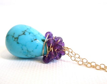 Turquoise Necklace, Wire Wrapped Amethyst Cluster, 14k Gold Fill Handmade Jewelry, Simply Southwest Beauty, by Sonja Blume