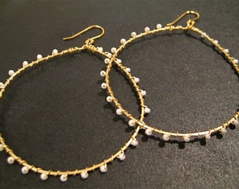 Gold Hoop Earrings, Wire Wrapped, White Pearls, Seed Beads, Handmade Jewelry, Sonja's Signature Hoops