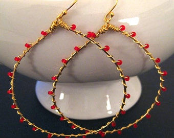 Gold Hoop Earrings, Wire Wrapped, Red Seed Bead, 14k Gold, Handmade Jewelry, Wrapped in Romance