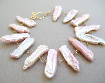 Pearl Beacelet, Biwa Pearls, 14k Gold, Wire Wrapped, Pink Gemstone, Handmade Jewelry