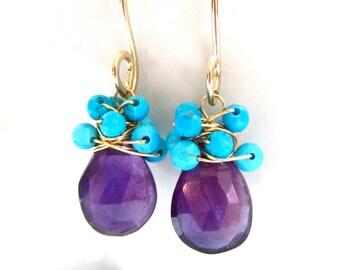 Amethyst Earrings, Turquoise Rondelles, Wire Wrapped, 14k Gold Fill, Teardrop Cluster, Gemstone, Handmade Jewelry