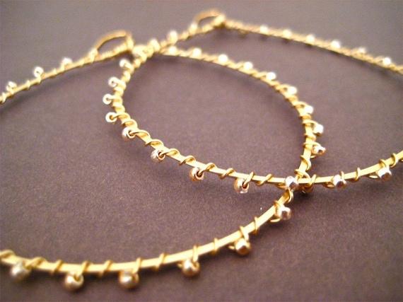 Gold Hoop Earrings Wire Wrapped, Seed Beads, Gold Beads, Delicate Earrings, Teardrop Hoop, Handmade Jewelry, Sonja's Signature Hoops