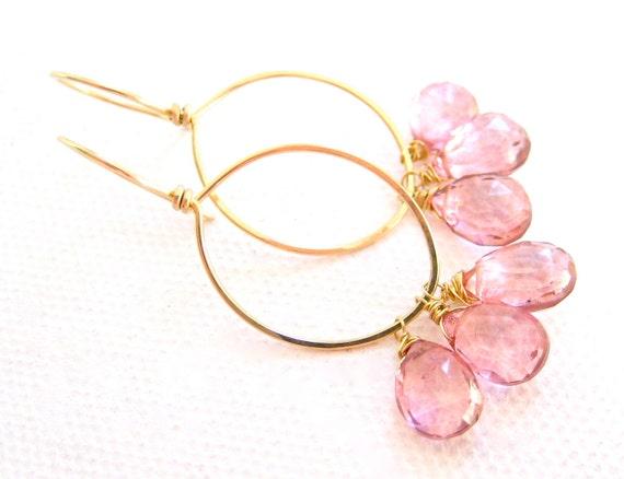 Gold Hoop Earrings Pink Quartz Teardrops Handmade Jewelry, Pretty in Pink, Complimentary Shipping