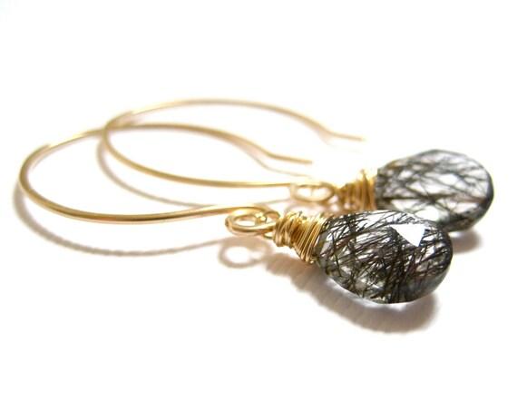 Rutilated Quartz Earrings, Black Rutilated Quartz, 14k Gold, Wire Wrapped, Contemporary Modern