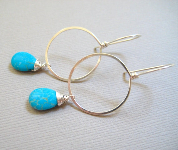 Sterling Silver Hoop Earrings Turquoise Teardrop Wire Wrapped, Handmade Jewelry by Sonja Blume