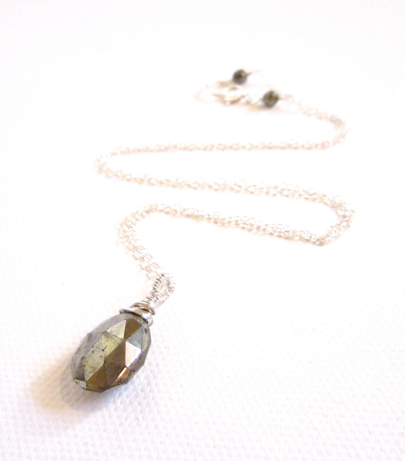 pyrite necklace gold gemstone necklace sterling silver wire