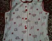 VINTAGE super cute 50s square dancing cowgirl summer top sz sm