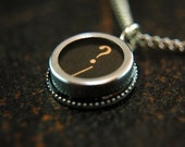 Vintage Typewriter Key Pendant Necklace Charm - Black Silver Rim Glass Top - Question Mark - Other Letters Available GDJ Fashion Jewelry