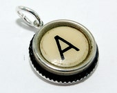 Initial Letter A -  Vintage Typewriter Key Pendant Necklace Charm - on Silver Chain - Other Letters Available