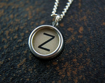 Vintage Typewriter Key Pendant Necklace Charm - White Silver Rim Glass Top Letter Z - Other Letters Available GDJ