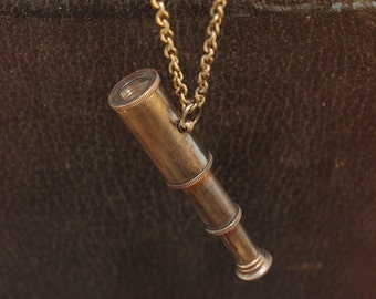 Miniature Spyglass Telescope Pendant Necklace - Working-- Steam Punk  - by Gwen DELICIOUS Jewelry Design