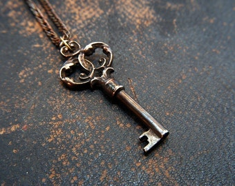 Skeleton Key Necklace Pendant Ornate Bronze Victorian - Gwen Delicious Jewelry Design