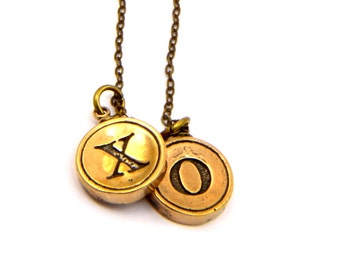 X and O Necklace - Bronze Hugs and Kisses