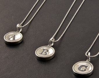 Bridsmaids Gifts - Sterling Silver Initial Necklace - All Letters Available