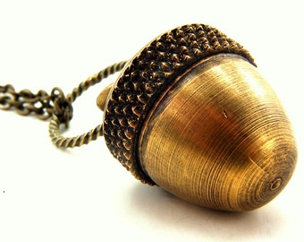 Acorn Necklace - An Acorn with a Secret  Fall Fashion - Capsule Container  Pendant Necklace - by Gwen DELICIOUS 2010