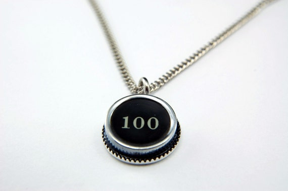 NUMBER 100  - Vintage Typewriter Key Pendant Necklace Charm - Black Silver Rim - Other Letters Available GDJ Fashion Jewelry