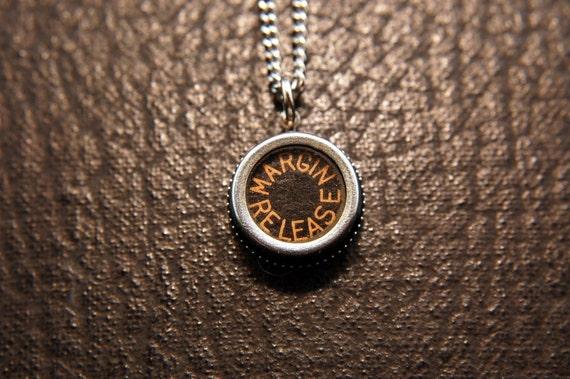 Vintage Typewriter Key Pendant Necklace Charm - Black Silver Rim Glass Top - RARE Margin Release Key