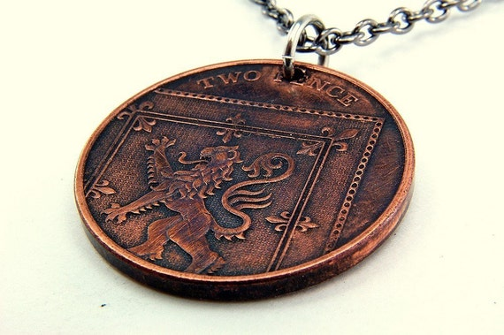 Scottish Lion Rampant - Two Pence Coin Necklace