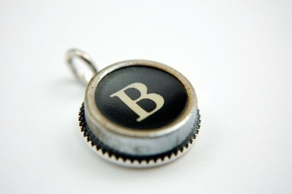 Initial Letter B Vintage Typewriter Key Pendant Necklace Charm - Silver Rim and on Silver Chain - Other Letters Available GDJ