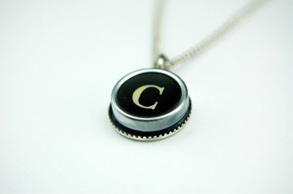 Initial Letter C Vintage Typewriter Key Pendant Necklace Charm - Other Letters Available GDJ
