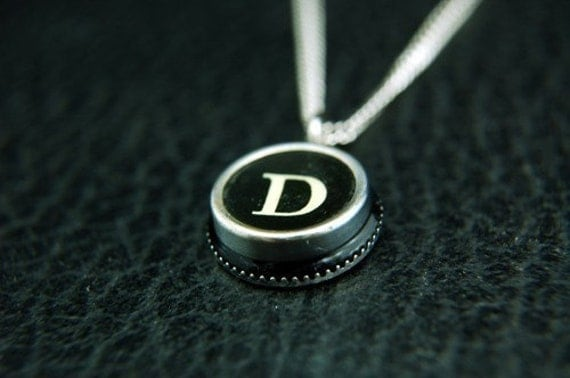 Vintage Typewriter Key Pendant Necklace Charm - Silver Rim Initial Letter D - Other Letters Available GDJ Fashion Jewelry