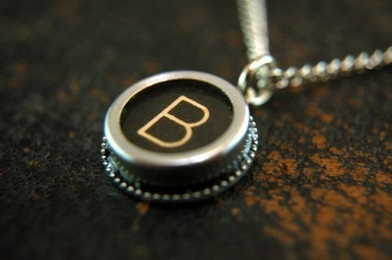 Vintage Typewriter Key Pendant Necklace Charm - Black Silver Rim Glass Top - Initial Letter B - Other Letters Available GDJ Fashion Jewelry