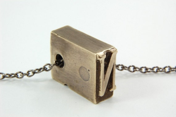 Initial Letter N - Bronze Letterpress Necklace - Personalized - Other Letters Available GDJ