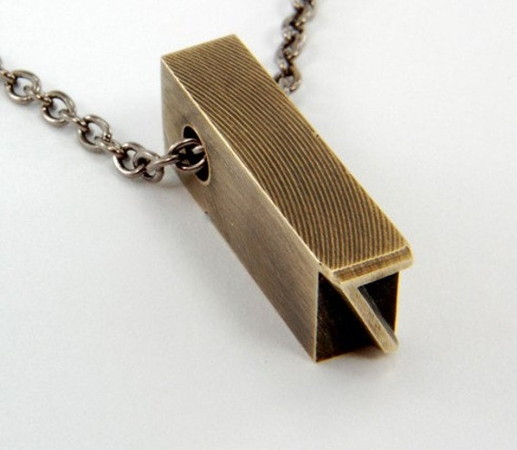 Number 7  Necklace - Brass Letterpress Necklace - Personalized - Other Numbers Available