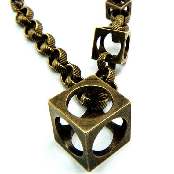 Triple Brass Cube Necklace - Gwen Delicious Jewelry Designs -  Cube is to Square as Circle is to....