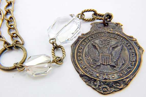 Bronze US Seal Necklace  with Swarovski Crystals- United States of America Signature  Watch Fob Necklace GDJ