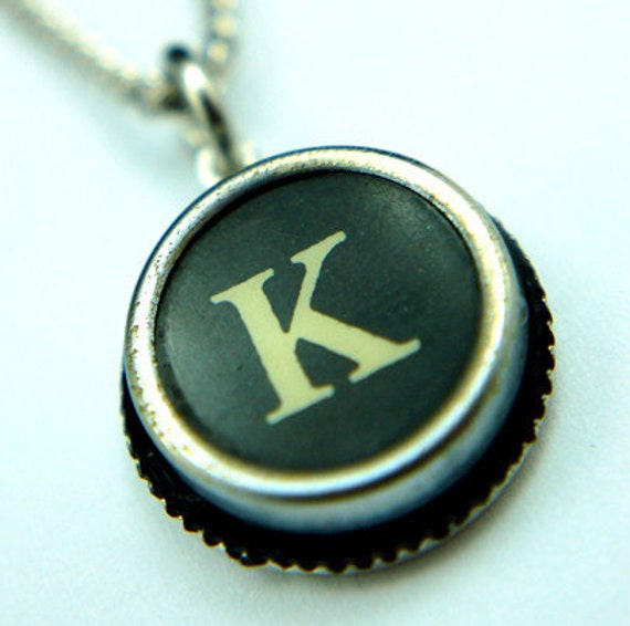 Initial Letter K Vintage Typewriter Key Pendant Necklace Charm - Silver Rim  - Other Letters Available GDJ Fashion Jewelry