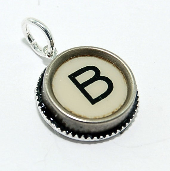 Initial Letter B -  Vintage Typewriter Key Pendant Necklace Charm - on Silver Chain - Other Letters Available