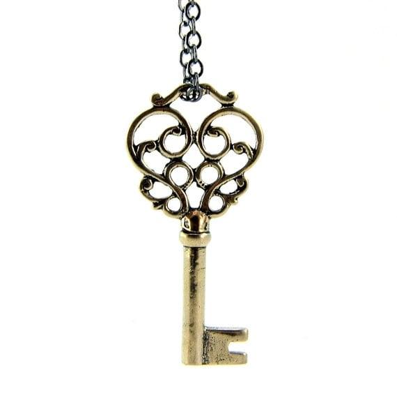 Skeleton Key Necklace Solid Silver White Bronze Mustache Key Pendant - Gwen Delicious Jewelry Design