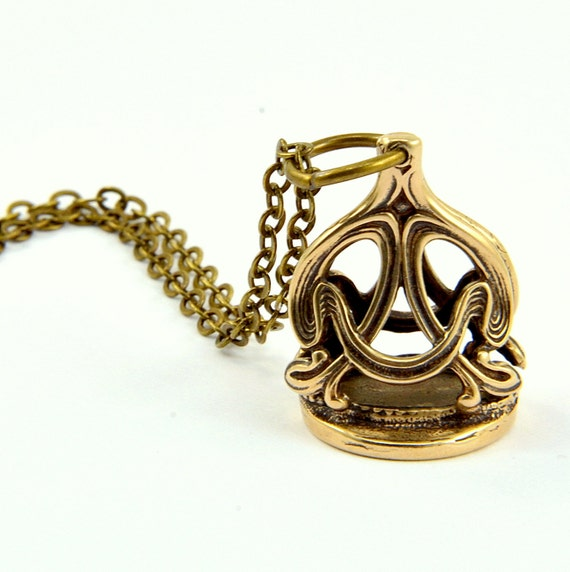 Wax Seal Necklace Crown Stamper Bronze Necklace by Gwen Delicious Jewelry - Usable Seal Stamp
