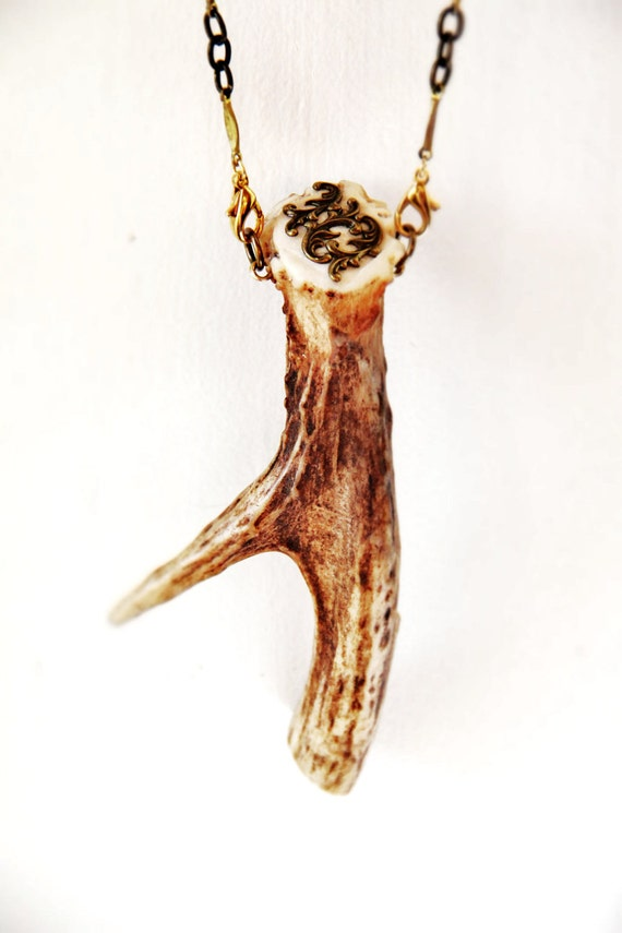 TAXIDERMY COUTURE One Point Antler Smoking Pipe Necklace Unisex OOAK