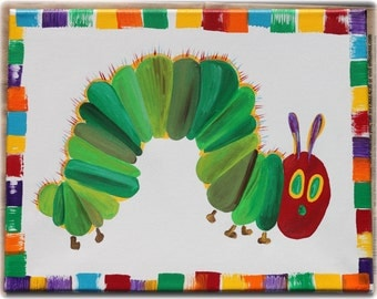 The Very Hungry Caterpillar (only) 11X14 Wall Canvas Hand Painted Wall Art Picture Nursery Art custom Paintings Available