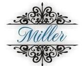 Miller Monogram Font Frame- Instant Email Delivery Download Machine embroidery design