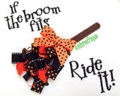 Halloween Ribbon Broom If the Broom Fits In the Hoop Project- Instant Download -Digital Machine Embroidery Design