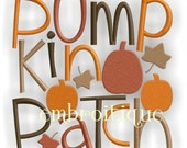 Pumpkin Patch Fall Word Block- Instant Email Delivery Download Machine embroidery design