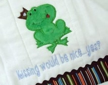 Frog Prince Boy Applique- Instant Email Delivery Download Machine embroidery design