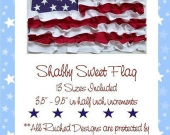 ITH Shabby Sweet Ruched 4th of July Flag- Instant Download -Digital Machine Embroidery Design