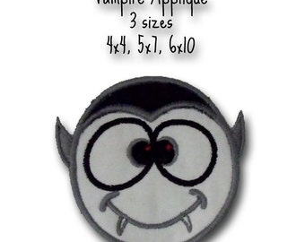 Vampire Applique Halloween - Instant Email Delivery Download Machine embroidery design