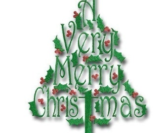 A Very Merry Christmas Tree 4 - in 3 sizes- Instant Download -Digital Machine Embroidery Design