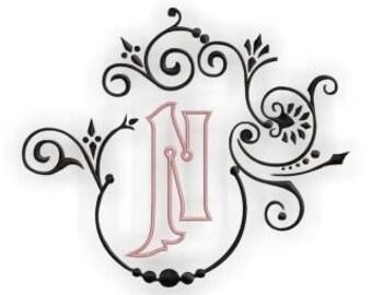 Natalya Monogram Font Frame & Alphabet - Outlined Center Monogram Set- Instant Email Delivery Download Machine embroidery design