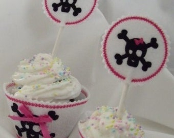 Cupcake Wrapper & Topper Set - Girly Skull- Instant Email Delivery Download Machine embroidery design